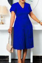Royal Blue Elegant Solid Split Joint V Neck Pleated Plus Size Dresses