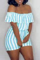 Sky Blue Fashion Casual Striped Print Backless Off the Shoulder Regular Romper