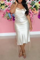 White Fashion Sexy Solid Backless Spaghetti Strap Sleeveless Dress