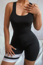 Black Sexy Striped Backless O Neck Skinny Jumpsuits
