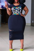 Black Fashion Casual Plus Size Letter Print Ripped O Neck Short Sleeve Dress
