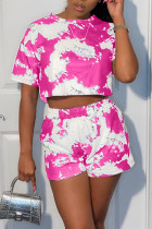 Rose Red Sportswear Print Split Joint O Neck Short Sleeve Two Pieces