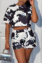 Black Sportswear Print Split Joint O Neck Short Sleeve Two Pieces