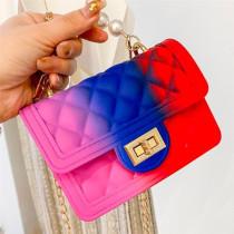 Blue Red Fashion Casual Gradual Change Chains Pearl Messenger Bag