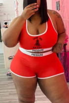 Red Casual Print Split Joint U Neck Plus Size Two Pieces