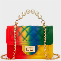 Red Green Fashion Casual Gradual Change Chains Pearl Messenger Bag