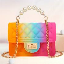 Orange Pink Fashion Casual Gradual Change Chains Pearl Messenger Bag