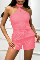 Pink Sexy Casual Solid Backless Halter Sleeveless Regular Romper