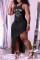 Black Fashion Sexy Plus Size Print O Neck Vest Dress