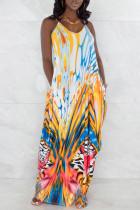 Yellow Fashion Sexy Print Backless Spaghetti Strap Sleeveless Dress