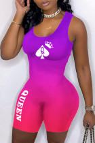Purple Sexy Casual Gradual Change Print Basic U Neck Skinny Romper