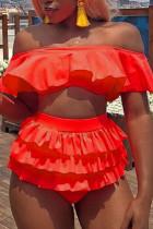 Orange Pink Sweet Solid Split Joint Swimwears