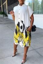 White Fashion Casual Print Asymmetrical Turndown Collar Shirt Dress
