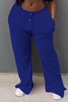 Blue Casual Solid Split Joint Straight Mid Waist Straight Solid Color Bottoms