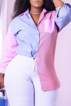 Pink Fashion Casual Patchwork Basic Turndown Collar Plus Size Tops