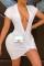 White Fashion Sexy Solid Basic V Neck Short Sleeve Dress
