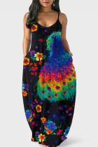Peacock Blue Sweet Print Split Joint Spaghetti Strap Straight Dresses