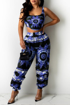 Blue Sexy Casual Print Vests Asymmetrical U Neck Sleeveless Two Pieces