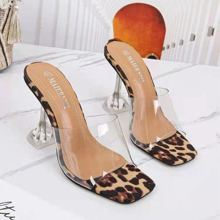 Leopard Print Fashion Casual Split Joint Fish Mouth Shoes