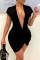 Black Fashion Sexy Solid Basic V Neck Short Sleeve Dress