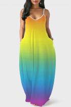 Gradient Color Casual Print Split Joint Spaghetti Strap Straight Dresses