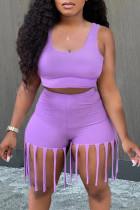 Purple Fashion Casual Solid Tassel U Neck Sleeveless Two Pieces