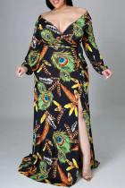 Black Fashion Sexy Print Slit V Neck Long Sleeve Plus Size Dresses