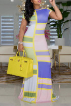 Yellow Fashion Print Basic O Neck Short Sleeve Dress