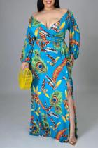Blue Fashion Sexy Print Slit V Neck Long Sleeve Plus Size Dresses