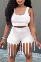 White Fashion Casual Solid Tassel U Neck Sleeveless Two Pieces