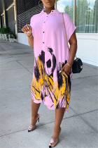 Pink Fashion Casual Print Asymmetrical Turndown Collar Shirt Dress