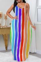 Stripe Casual Print Split Joint Spaghetti Strap Straight Dresses