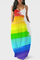 Multi-color Casual Print Split Joint Spaghetti Strap Straight Dresses