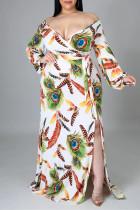 White Fashion Sexy Print Slit V Neck Long Sleeve Plus Size Dresses
