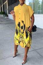 Yellow Fashion Casual Print Asymmetrical Turndown Collar Shirt Dress