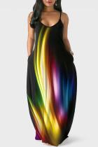 Black Casual Print Split Joint Spaghetti Strap Straight Dresses