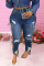 Deep Blue Street Solid Ripped Plus Size Jeans