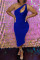 Deep Blue Fashion Sexy Solid Hollowed Out One Shoulder Sleeveless Dress