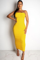 Yellow Fashion Sexy Off The Shoulder Sleeveless Wrapped chest Pleated Ankle-Length Draped Patchwo