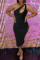 Black Fashion Sexy Solid Hollowed Out One Shoulder Sleeveless Dress