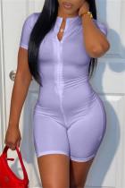 Purple Casual Sportswear Solid Basic Zipper Collar Skinny Romper