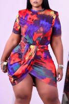 Colour Fashion Sexy Print Tie Dye Short Sleeve Top Skirt Two-piece Set