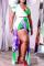 Purple Green Sexy Print Split Joint U Neck Straight Jumpsuits