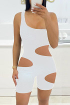 White Fashion Sexy Solid Hollowed Out One Shoulder Skinny Romper