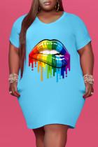 Sky Blue Fashion Casual Plus Size Lips Printed Basic V Neck Short Sleeve Dress