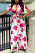 Red Sexy Print Split Joint V Neck Plus Size Dresses