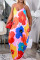 Red Fashion Casual Plus Size Print Backless Spaghetti Strap Long Dress