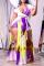 Yellow Purple Sexy Print Split Joint U Neck Straight Jumpsuits