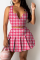 Red Sexy Plaid Split Joint V Neck Sleeveless Two Pieces