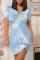 Light Blue Casual Patchwork Tie-dye V Neck Pencil Skirt Dresses